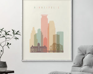 Minneapolis art print skyline pastel cream second