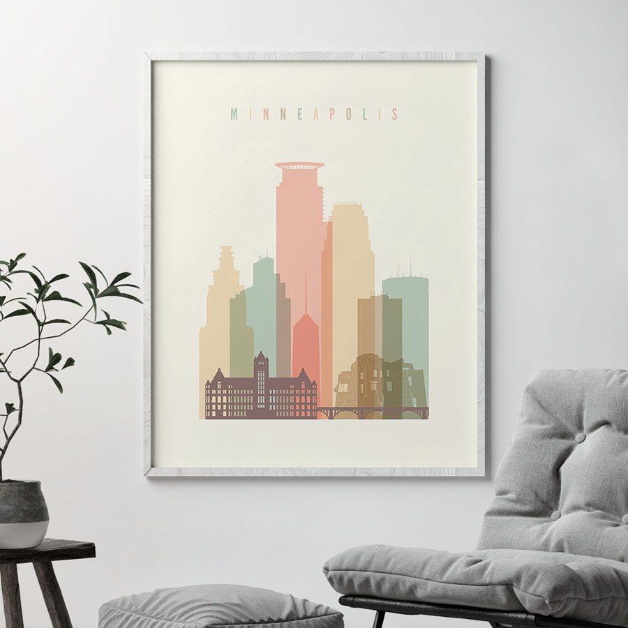 Minneapolis art print skyline pastel cream second
