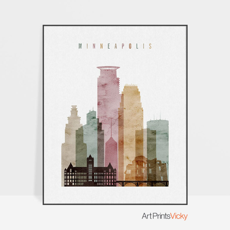 Minneapolis art print watercolor 1
