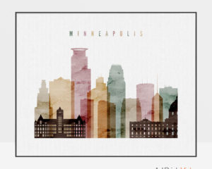 Minneapolis skyline art watercolor 1 landscape