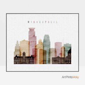 Minneapolis skyline art watercolor 1 landscape