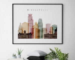 Minneapolis skyline art watercolor 1 landscape second