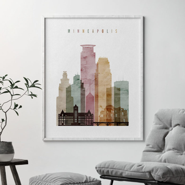 Minneapolis art print watercolor 1 second