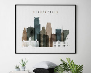 Minneapolis wall art watercolor 2 landscape second