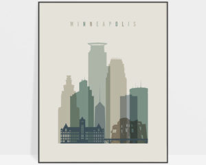 Minneapolis print skyline earth tones 1
