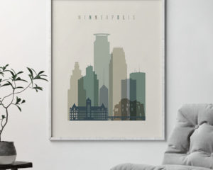 Minneapolis print skyline earth tones 1 second