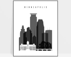 Minneapolis black and white poster