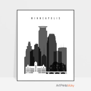 Minneapolis black and white poster