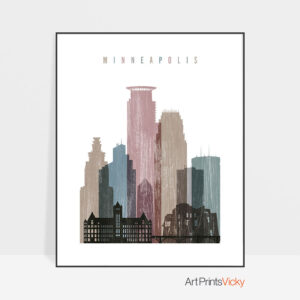 Minneapolis skyline poster distressed 1
