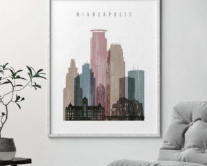 Minneapolis skyline poster distressed 1 second