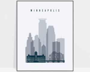 Minneapolis skyline poster grey blue