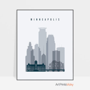 Minneapolis skyline poster grey blue