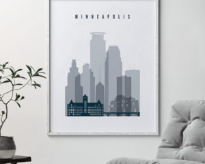 Minneapolis skyline poster grey blue second