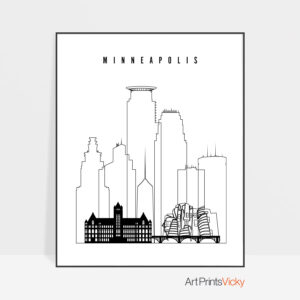 Minneapolis poster black and white