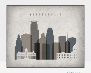 Minneapolis art print landscape retro