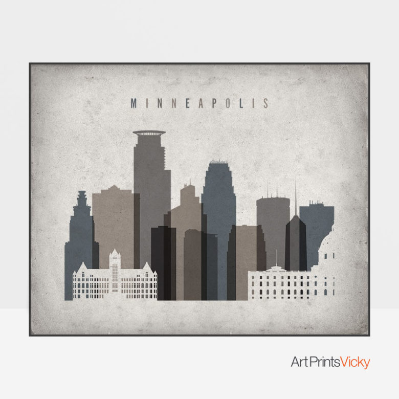 Minneapolis art print landscape retro