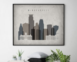 Minneapolis art print landscape retro second