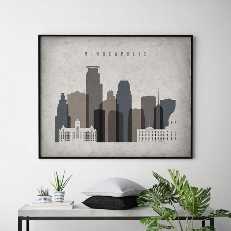 Minneapolis art print landscape retro second