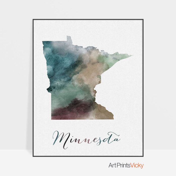 Minnesota State map print