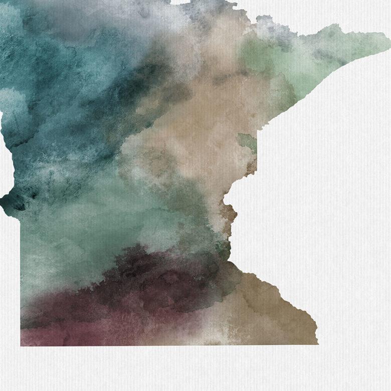 Minnesota State map print detail