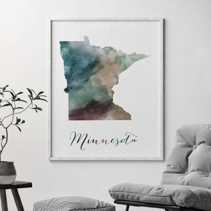 Minnesota State map print second