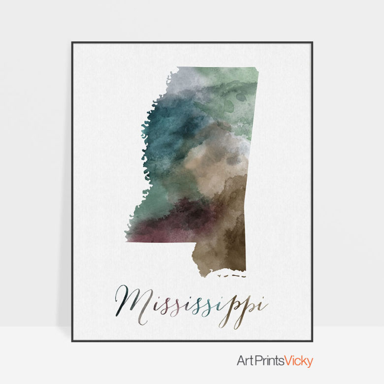 Mississippi State map print