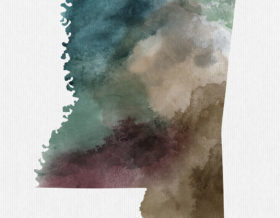 Mississippi State map print detail