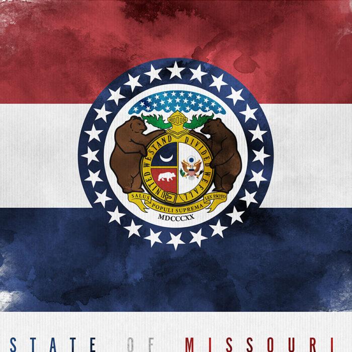 Missouri State flag art print detail