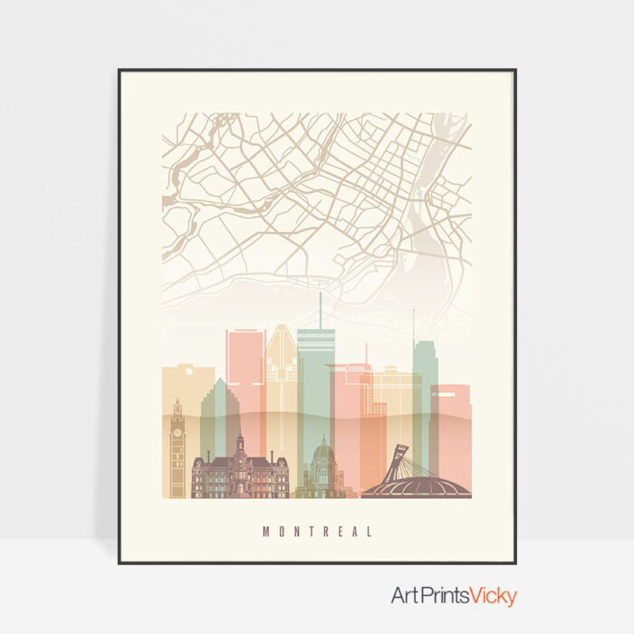 Montreal map poster skyline pastel cream