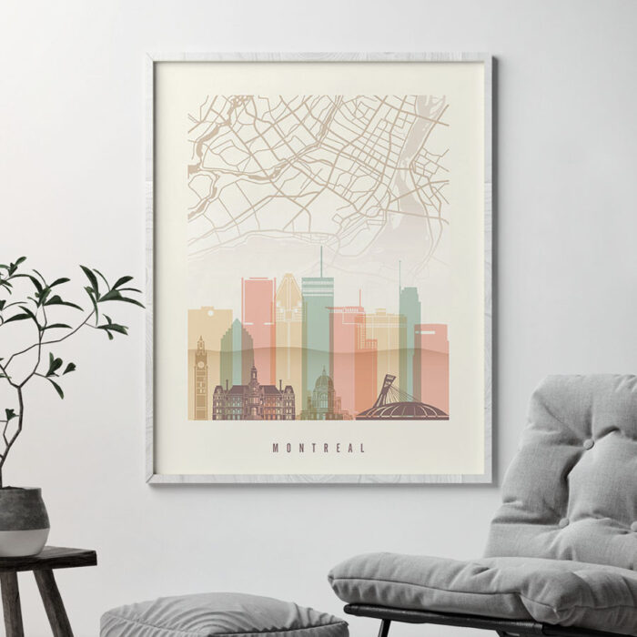 Montreal map poster skyline pastel cream second