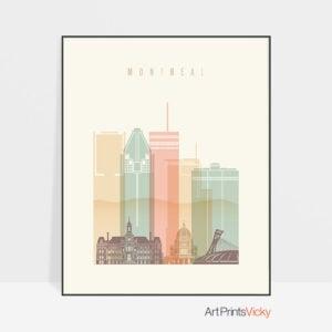 Montreal art print skyline pastel cream