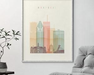 Montreal art print skyline pastel cream second
