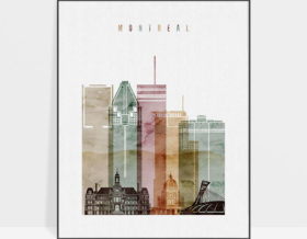 Montreal skyline art watercolor 1