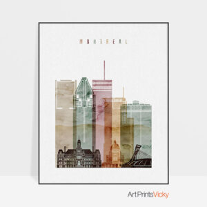Montreal skyline art watercolor 1