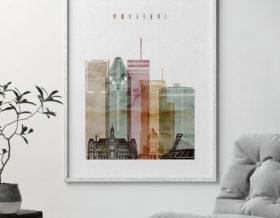 Montreal skyline art watercolor 1 second