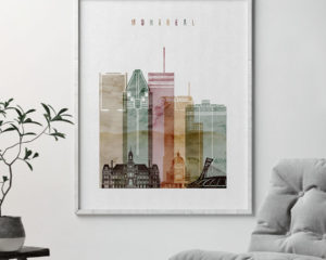 Montreal skyline art watercolor 1 second