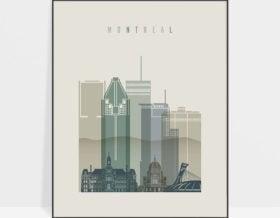 Montreal skyline art print earth tones 1