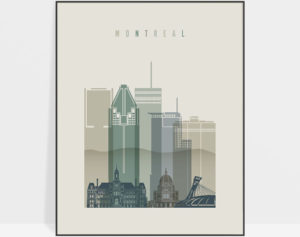 Montreal skyline art print earth tones 1