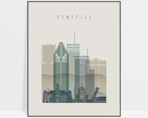 Montreal Skyline Art Print Earth Tones