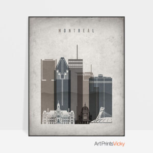 Montreal skyline wall art retro