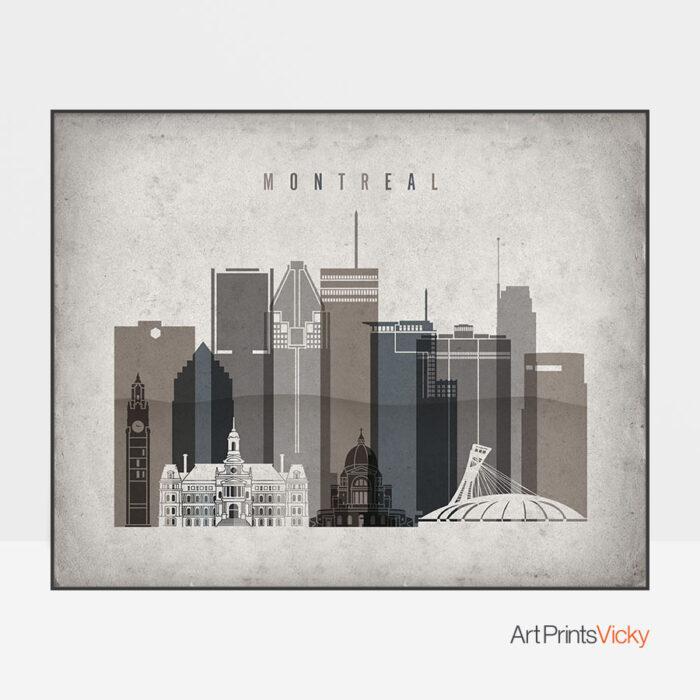 Montreal art print landscape retro