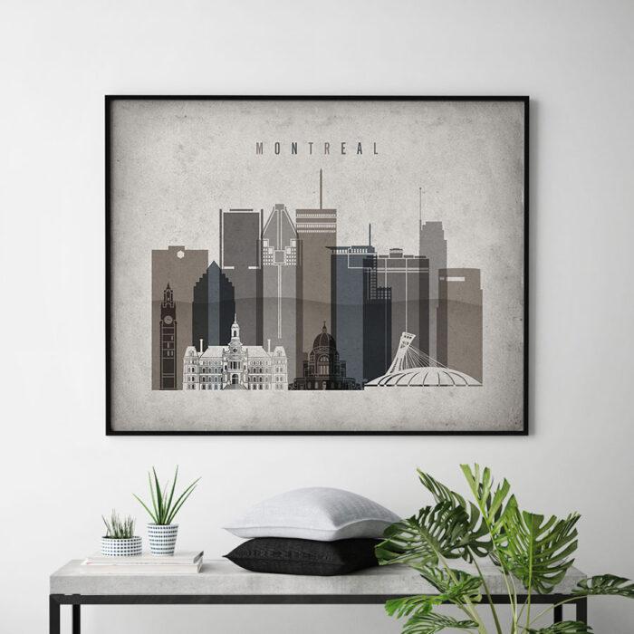 Montreal art print landscape retro second