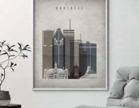 Montreal skyline wall art retro second