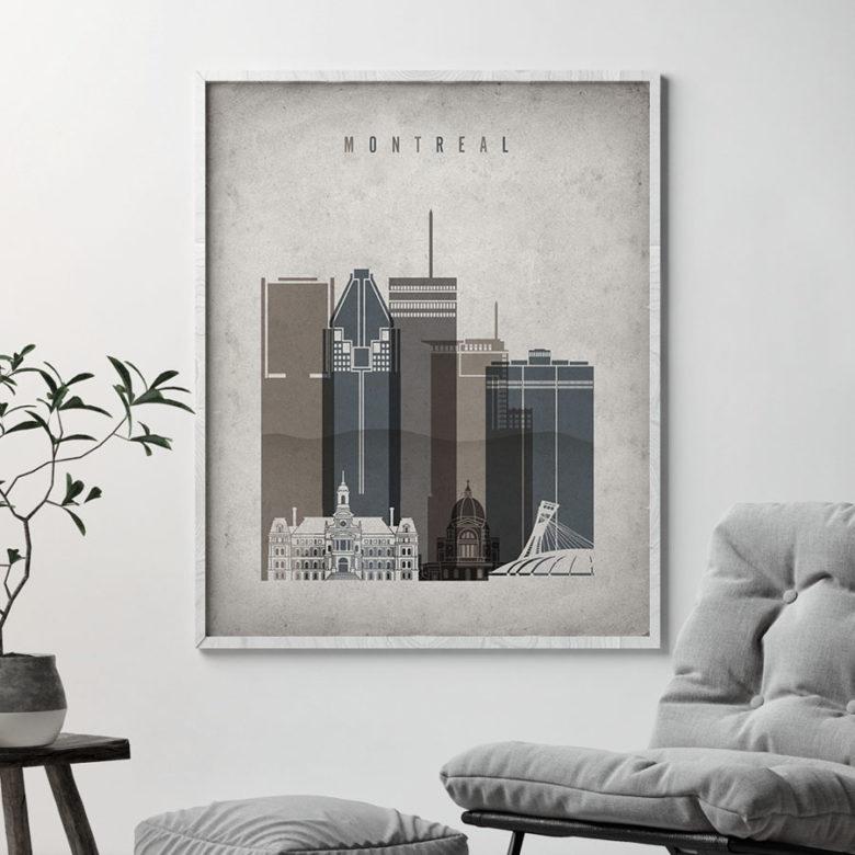 Montreal skyline wall art retro second