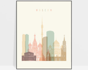 Moscow art print skyline pastel cream