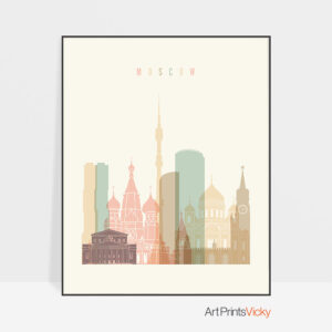 Moscow art print skyline pastel cream