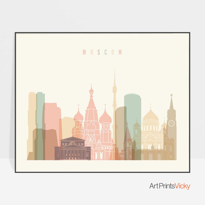 Moscow poster skyline pastel cream landscape