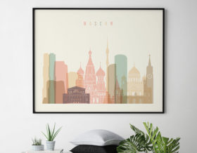 Moscow poster skyline pastel cream landscape second