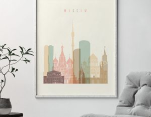 Moscow art print skyline pastel cream second