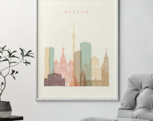 Moscow art print skyline pastel cream second